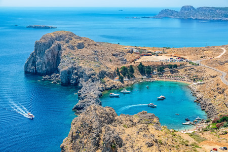 cove: View of Saint Paul's Bay from the Acropolis. Lindos, Rhodes, Greece