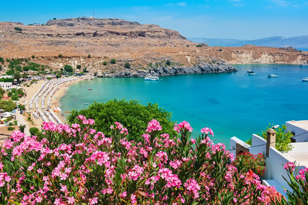 dodecanese: Elevated view of Lindos Bay. Lindos, Rhodes, Dodecanese Islands, Greece, Europe