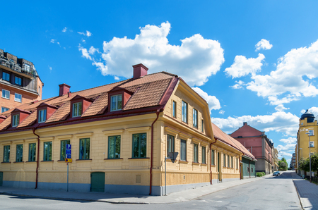 districts: Street in old town of Norrkoping. Ostergotland, Sweden, Scandinavia, Europe Editorial