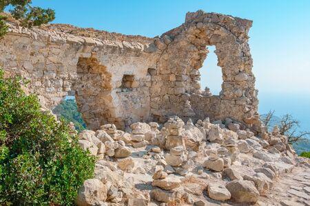 dodecanese: Castle walls. Monolithos, Rhodes, Dodecanese Islands, Greece Stock Photo