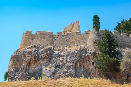 dodecanese: View of Lindos Acropolis. Rhodes island, Dodecanese islands, Greece, Europe Stock Photo