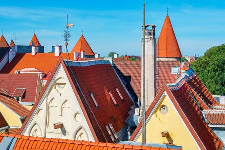 tiled: Red tiled roofs of Tallinn. Estonia, Europe Stock Photo