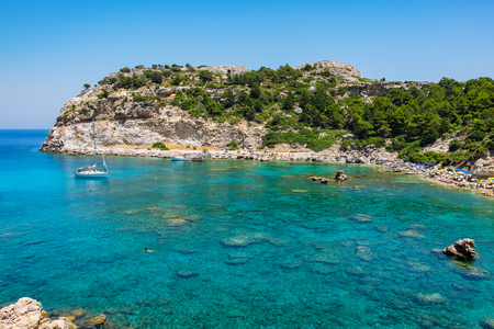 dodecanese: View of Ladiko Anthony Quinn Bay. Rhodes, Dodecanese Islands, Greece, Europe