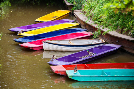 england: Colorful punts on the river Cherwel. Oxford, Oxfordshire, England