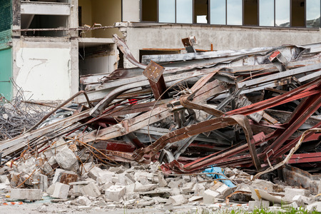 rubble: Pile of rubble of a demolished building