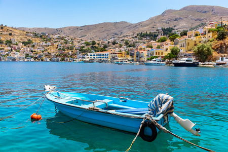 dodecanese: Boat at the harbour of Symi. Dodecanese, Greece, Europe