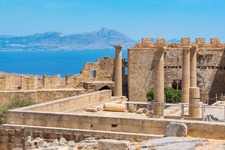 dodecanese: View of Acropolis in Lindos and Vliha bay. Rhodes Island, Dodecanese, Greece