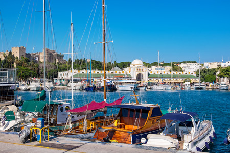 Boats in Mandraki Harbour. Rhodes Town, Rhodes, Greece
