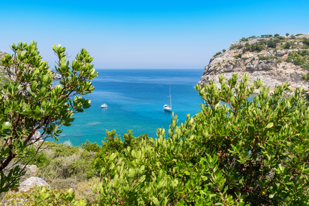 dodecanese: View of Sea and Ladiko Anthony Quinn Bay. Rhodes, Dodecanese Islands, Greece, Europe Stock Photo