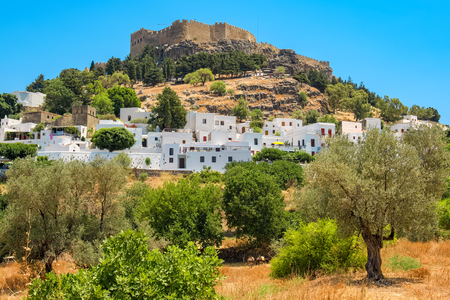 house donkey: View of Lindos town and Acropolis. Rhodes, Dodecanese islands, Greece, Europe
