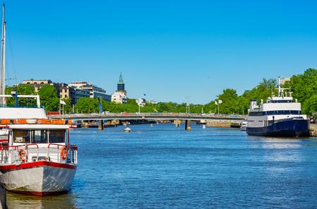 Mit Blick auf den Fluss Aura in Turku (Abo). Finnland, Europa