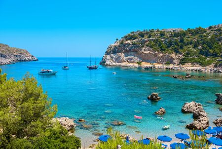 the bay: View of Ladiko Anthony Quinn Bay. Rhodes, Dodecanese Islands, Greece, Europe