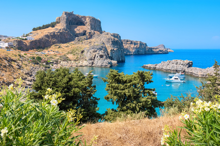 st pauls: View of Acropolis and St Pauls harbour in Lindos. Rhodes, Greece