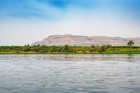 View of coastline Nile river near Luxor. Egypt, Africa Stock Photo