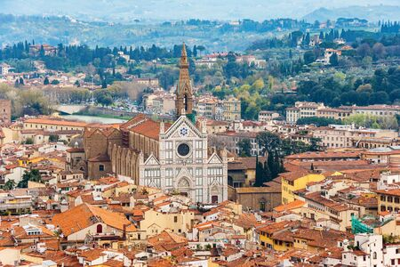 hone: Cityscape of Florence with Basilica of Santa Croce from the campanile. Florence, Tuscany, Italy Stock Photo