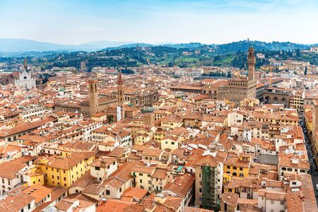 the campanile: Cityscape of Florence from the campanile. Florence, Tuscany, Italy Stock Photo