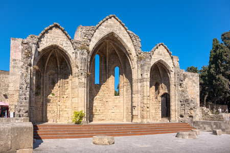 burgh: The church of Our Lady of the Burgh in the medieval town of Rhodes dates back to the 14th century. Rhodes, Greece Stock Photo