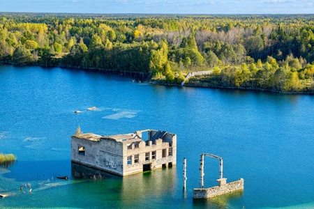 gaol: Flooded houses of former prison. Rummu, Estonia Stock Photo