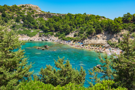 mediterranean forest: View of Ladiko Anthony Quinn Bay. Rhodes, Dodecanese Islands, Greece, Europe
