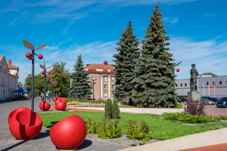 northeastern: Central square and City Hall in Jõhvi. Estonia, Baltic Countries. Jõhvi is a town in north-eastern Estonia, and the capital of Ida-Viru County