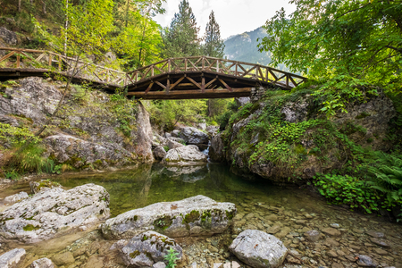 olympus: Wooden bridge over a river in the mountains of Olympus. Prionia, Greece Stock Photo