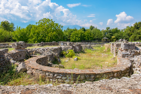 Ruins of Episcopal Basilica at the Archaeological Park of Dion. Pieria, Macedonia, Greece