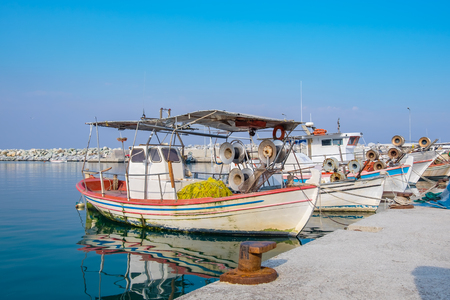 Greek fishing boats moored at harbour of Platamonas. Pieria, Macedonia, Greece, Europe Stock Photo