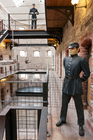 gaol: CORK, IRELAND - NOVEMBER 7, 2010: Historical exposition in former City Gaol. Now historical jail museum