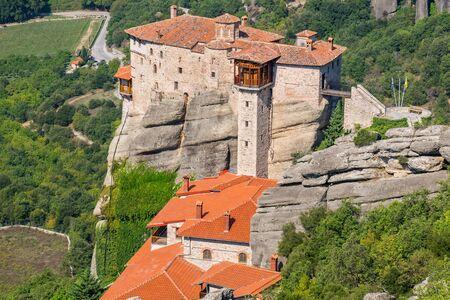 View Monastery of Roussanou (Agias Varvaras). Meteora, Thessaly, Greece, Europe