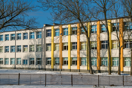 renovated: Exterior of renovated school building. Estonia, Europe