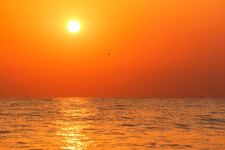 Sunrise view at the Aegean sea coast. Pieria, Macedonia, Greece