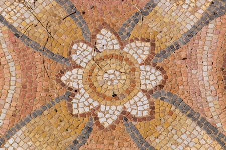 stone floor: Fragment of antique mosaic at the Archaeological Park of Dion. Pieria, Macedonia, Greece
