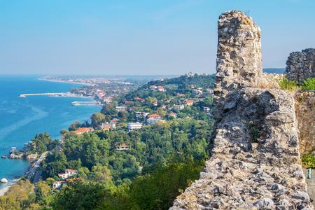 olympus: View from Platamonas castle to Aegean Sea coast. Pieria, Macedonia, Greece Stock Photo