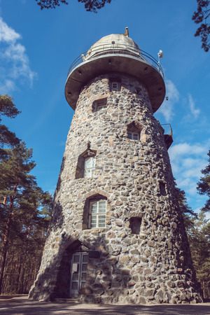 glenn: View of an old observatory tower in park. Tallinn, Estonia, EU Stock Photo