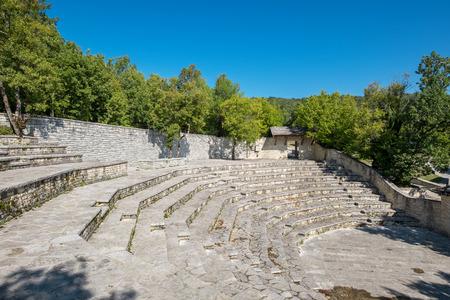 balkans: Outdoor Amphitheater in Monodendri, one of the stone villages of Zagoria. Epirus, Greece