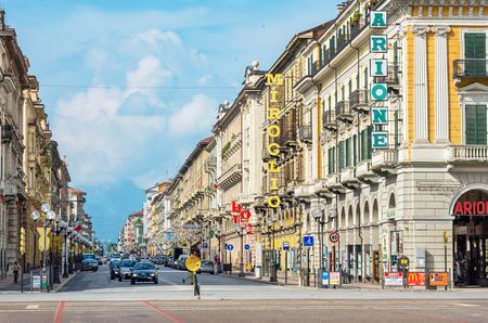 cuneo province: CUNEO, ITALY - JUNE 11, 2011: View along Corsa Nizza street toward Alps. Cuneo is one of the most visited cities in Piedmont