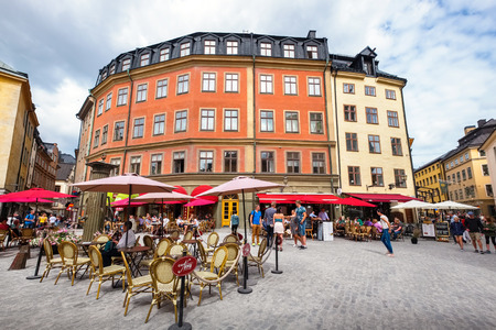 STOCKHOLM, SWEDEN - JULY 08, 2017: Jarntorget (The Iron Square) is a small public square in Gamla Stan, the old town in central Stockholm Editorial