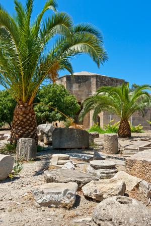 Pillars and columns near Basilica of Agios Titos. Gortyna. Crete, Greece