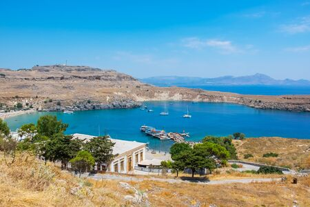 Elevated view of Lindos Bay. Lindos, Rhodes, Dodecanese Islands, Greece, Europe