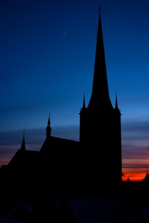 Silhouette of St Olaf Church at sunset. Tallinn, Estonia, EU