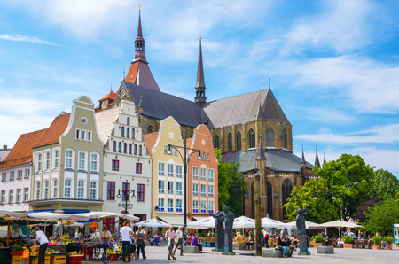 ROSTOCK, GERMANY - JUNE 14, 2011: Gabled houses around New Market Square. Mecklenburg-Western Pomerania Editorial