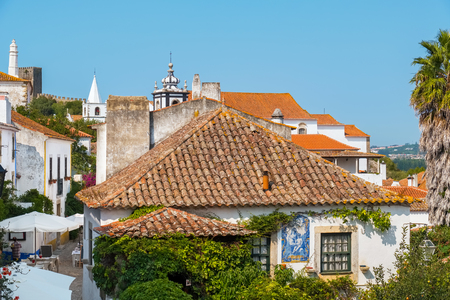Obidos rooftops and street. Estremadura, Portugal, Europe