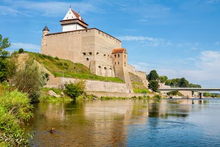 Fortress over the river. Narva, Estonia, Europe