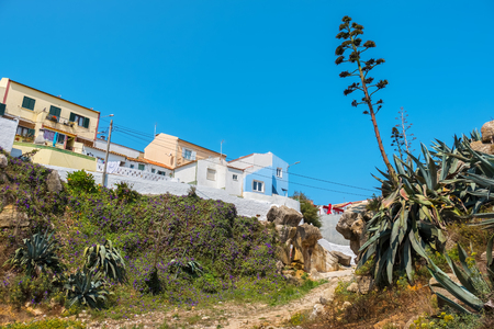 View to old houses on Atlantic coast. Peniche, Estremadura, Portugal, Europe Stock Photo