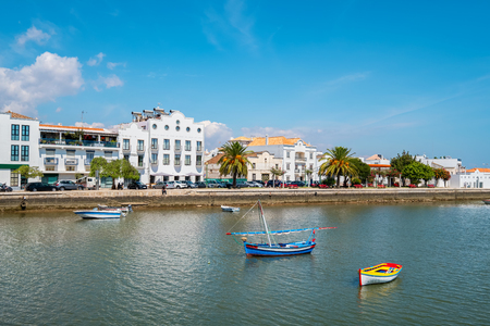 Wooden boats on Gilao river. Tavira, Faro District, Algarve, Portugal