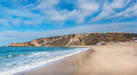 Panoramic view of Praia Da Nazare beach. Nazare, Leiria District, Portugal