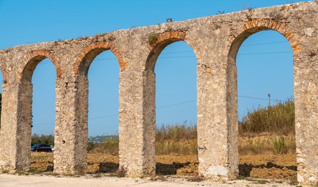 Panoramic view of old  Roman Aqueduct (Aqueduto da Usseira). Obidos, Portugal Stock Photo