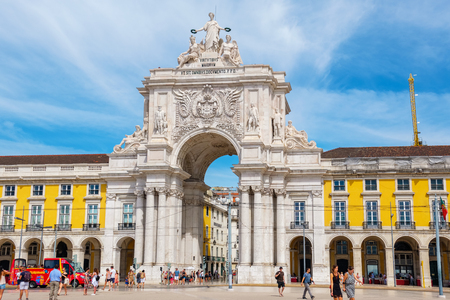 LISBON, PORTUGAL - SEPTEMBER 3, 2017: Commerce square (Praca do Comercio) with the Rua Augusta Arch Editorial