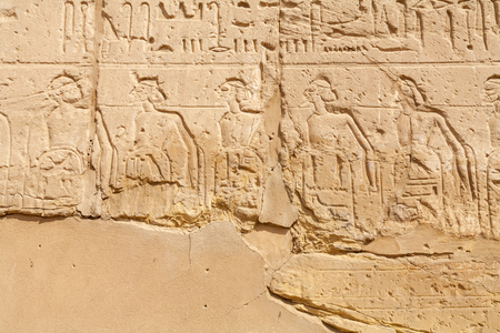 Carved wall detail in Karnak Temple complex. Luxor, Nile Valley, Egypt