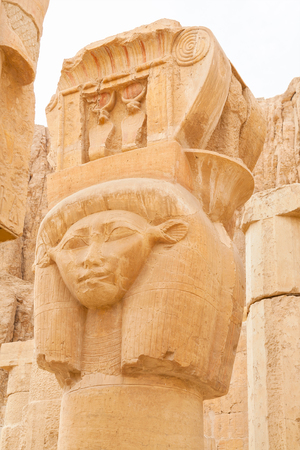 Hathor headed column in Mortuary Temple of Hatshepsut. Luxor, Thebes, Egypt